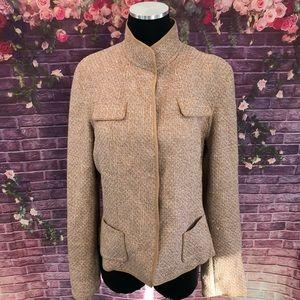Elie Tahari Virgin Wool Blend Tweed Jacket L